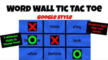 Word Wall Word Tic Tac Toe Google Style