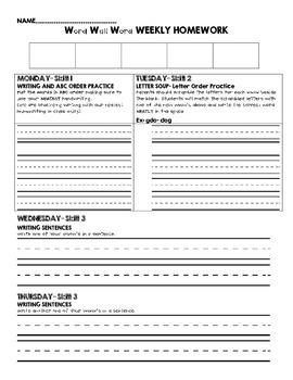Word Wall Word Weekly Homework