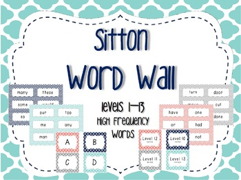 Word Wall/Word Work Cards Levels 1-13 {Sitton High Frequen