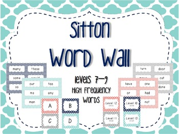 Word Wall/Word Work Cards Levels 7-9 {Sitton High Frequenc