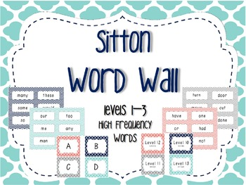 Word Wall/Word Work Cards Levels 1-3 {Sitton High Frequency Words}