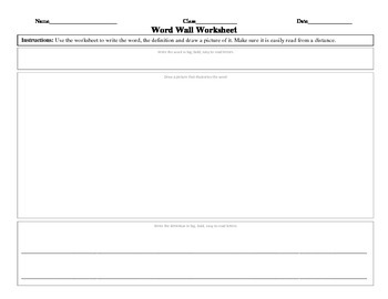 Word Wall Word Worksheet