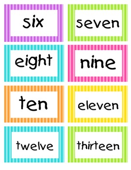 Word Wall Words: 1st 100 HFWs in Bright Stripes