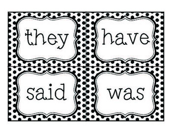 Word Wall Words - Black and White Polka Dot