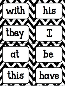 Word Wall Words (Black and White Theme) First 100 Fry Words