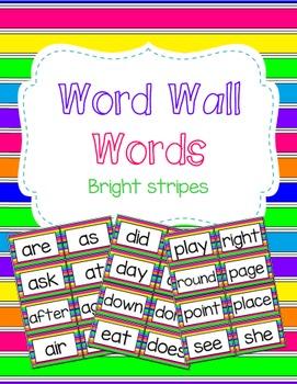 Word Wall Words - Bright Stripes *EDITABLE*