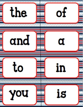 Word Wall Words (Chevron/Nautical Theme) First 100 Fry Words