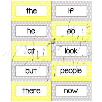 Word Wall Words: First 100 Fry Words - Yellow & Gray