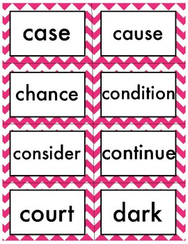 Fry Words Fourth Grade Chevron Theme List 3