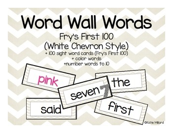 Word Wall Words: Fry's First 100 Sight Words (White Chevron)