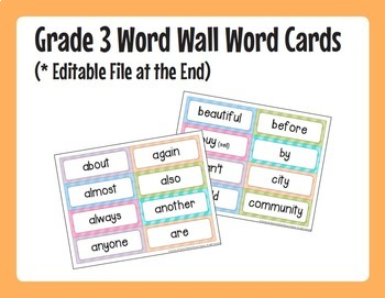 Word Wall Words (Grade 3) Complete Package [Headings & Word Cards] - Editable