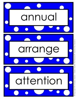 Word Wall Word Cards and Alphabet Cards - Grade 6 (6th Grade)