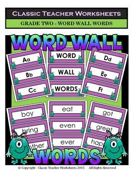 Word Wall Word Cards and Alphabet Cards - Grade 2 (2nd Grade)