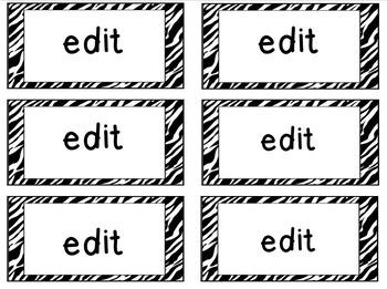 Word Wall Words - High Frequency Words- EDITABLE!! Zebra print