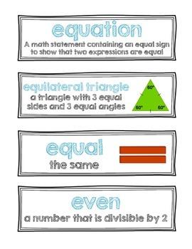 Word Wall Words {Math}