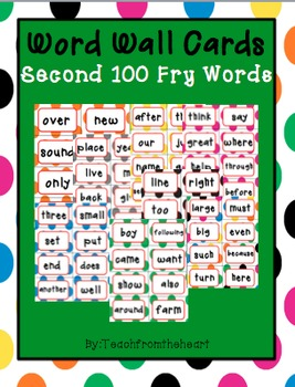 Word Wall Words (Polka Dot Theme) Second 100 Fry Words