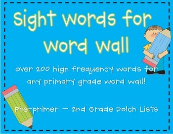 Word Wall Words - Primary