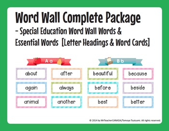 Word Wall Words (Special Education) Package [Headings & Word Cards] - Editable