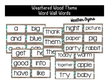 Word Wall Words Weathered Wood Theme