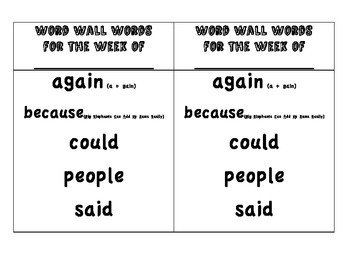 Word Wall Words by Week for 3rd Grade