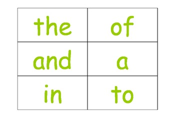 Word Wall Words (first set of high frequency words)