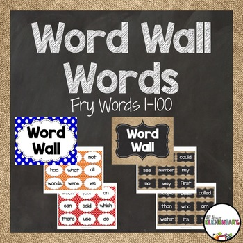 Word Wall Words for Fry Words 1-100