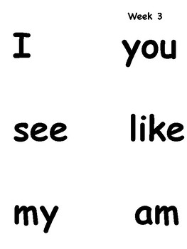 Word Wall Words for First Graders- Words for each Week of School