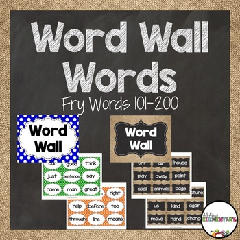 Word Wall Words for Fry Words 101-200