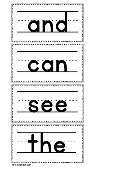 Word Wall Words on Handwriting Lines