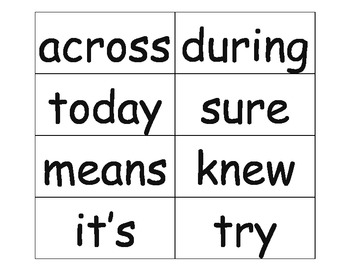 Word Wall Words (third set of high frequency words)