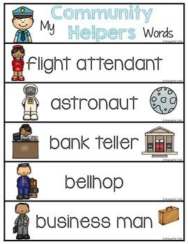 Word Wall Words_Community Helpers