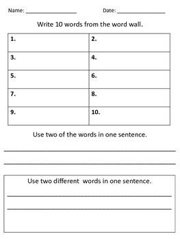 Word Wall Worksheet