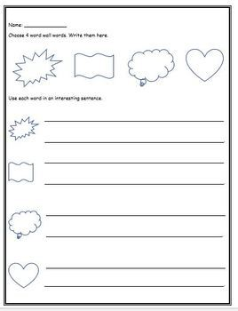 Word Wall Worksheets (Grade One, NO PREP)
