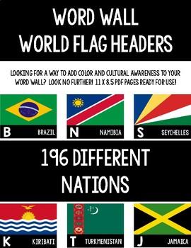 Word Wall World Flag Headers