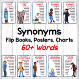 Synonym Posters (2 sizes) Charts and Flip Books for 60 Synonyms +Black and White