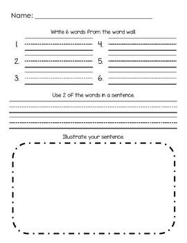 Word Wall Writing Sheet