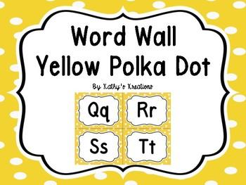 Word Wall Yellow Polka Dot  -Dollar Deal