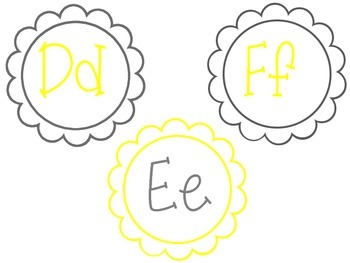 Word Wall Yellow and Grey Floral