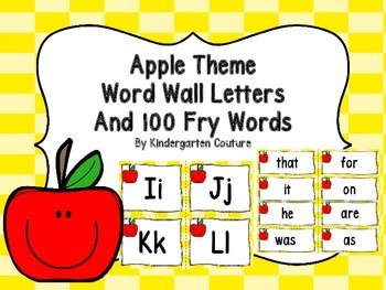 Word Wall and 100 Fry Words -Apple Theme