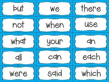 Word Wall Letters with Blue Polka Dot Background and First 300 Fry Sight Words