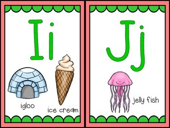 Word Wall and Alphabet Letters with Pink and Green (Watermelon) Background