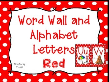 Word Wall Letters with Red Polka Dot Background and First