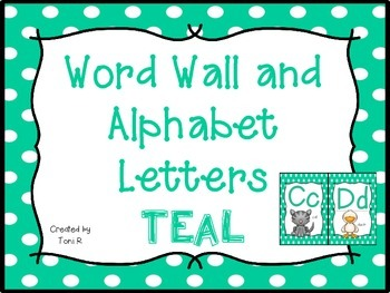 Word Wall Letters with Teal Polka Dot Background with first 300 Fry Sight Words