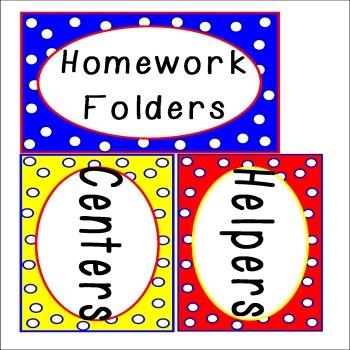 Word Wall and Classroom Labels Polka Dots