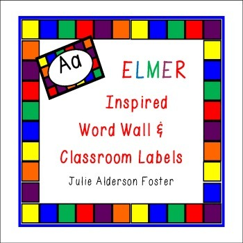 Word Wall and Classroom labels  Elmer Inspired