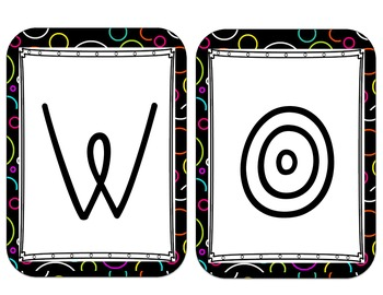 Word Wall and Focus Wall Posters- black with colored circles