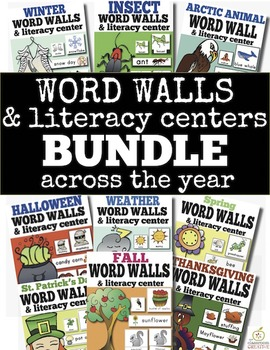 Word Wall and Literacy Center Bundle for the Whole Year!