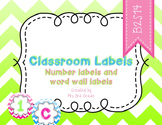Word Wall and Number Labels