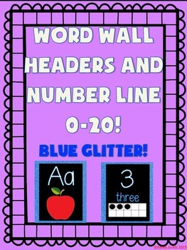 Word Wall and Number Line labels (Blue GLITTER)