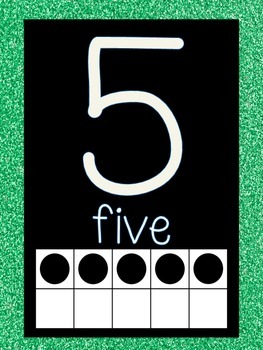 Free! Word Wall and Number Line labels (Green GLITTER)